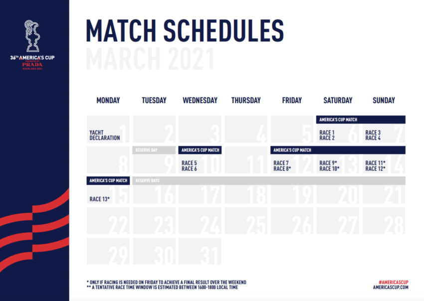 America's Cup 2021 calendario